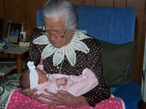 Mamaw meeting her one and only Great Great Granddaughter